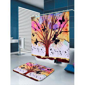 waterproof tree of life butterfly shower curtain colorful w71 inch l79 inch