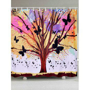 Waterproof Tree of Life Butterfly Shower Curtain