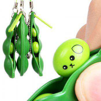 1 PC Anti Stress Squeeze Beans Toy with Keychain - GREEN