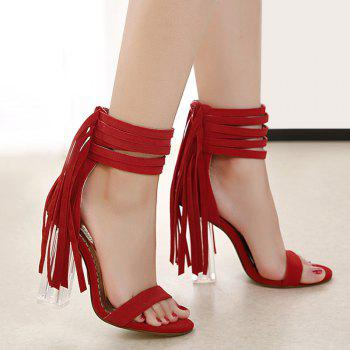 Clear Heel Fringe Ankle Wrap Sandals - RED 39