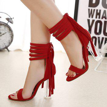 Clear Heel Fringe Ankle Wrap Sandals - RED 37