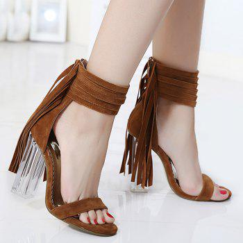 Clear Heel Fringe Ankle Wrap Sandals - BROWN 40