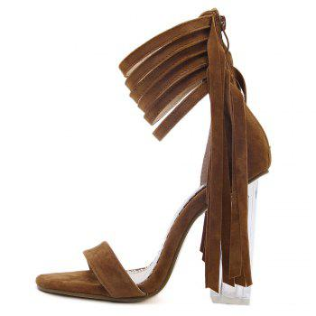 Clear Heel Fringe Ankle Wrap Sandals - 37 37