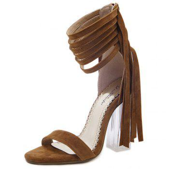 Clear Heel Fringe Ankle Wrap Sandals - BROWN 37
