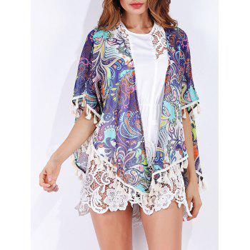 Tribal Print Tassels Chiffon Cover Up - COLORMIX COLORMIX