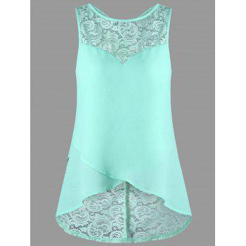 High Low Lace Panel Sleeveless Blouse