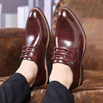Metal Embellishment Faux Leather Formal Shoes - WINE RED 43