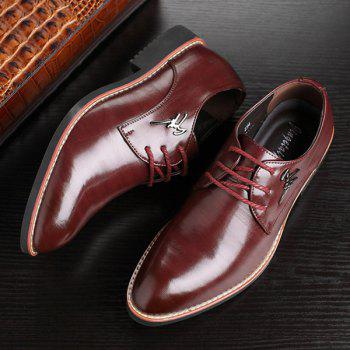 Metal Embellishment Faux Leather Formal Shoes - WINE RED 41