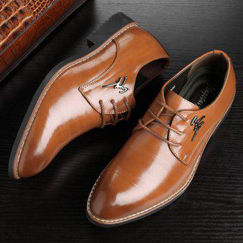 Metal Embellishment Faux Leather Formal Shoes - BROWN 43