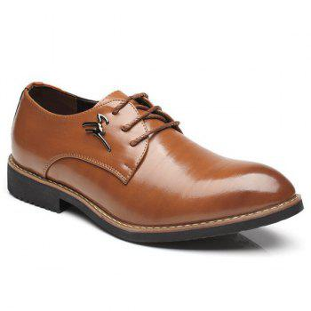 Metal Embellishment Faux Leather Formal Shoes - BROWN 44