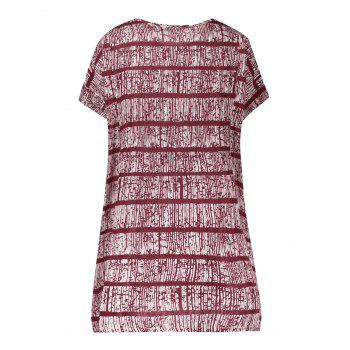 Striped Front Pockets Plus Size Tee Dress - RED XL