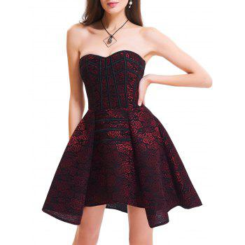 Strapless Floral Lace-up Vintage Corset Dress