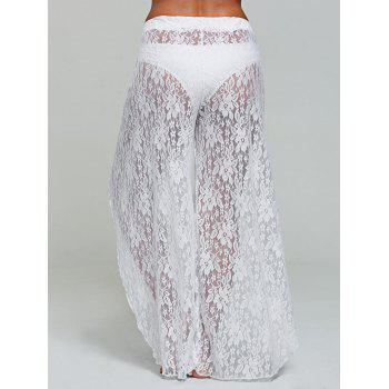 Lace Wide Leg Tulip Swim Cover Up Pants - WHITE S