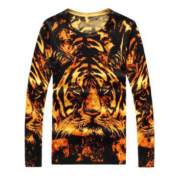 Crew Neck Long Sleeve 3D Tiger Print Sweater