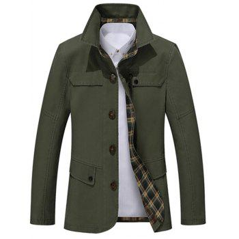 Slim Fit Snap Button Pocket Single Breasted Coat