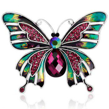 Artificial Ruby Inlaid Enamel Butterfly Brooch