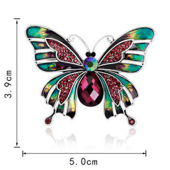 Artificial Ruby Inlaid Enamel Butterfly Brooch -  COLORFUL