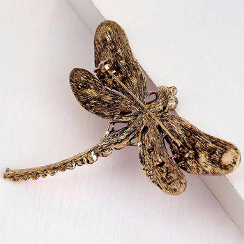 Faux Gem Inlaid Retro Dragonfly Shape Brooch - GREEN
