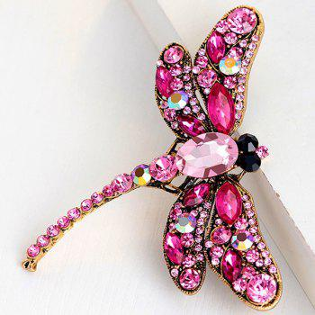 Faux Gem Inlaid Retro Dragonfly Shape Brooch - TUTTI FRUTTI