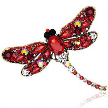 Faux Gem Inlaid Retro Dragonfly Shape Brooch