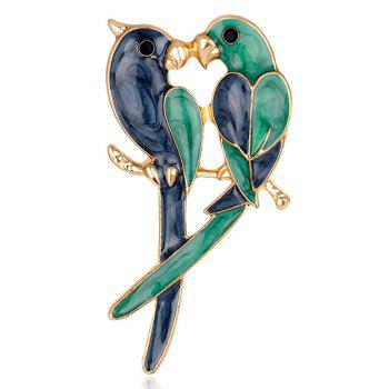 Parrots Lover Shape Plated Brooch