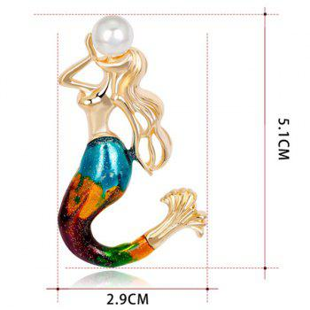 Plating Mermaid Design Faux Pearl Brooch - GOLDEN