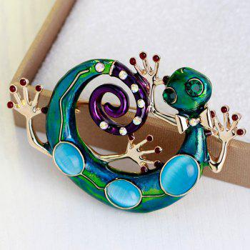 Lizard Design Rhinestone Inlaid Enamel Retro Brooch - Vert