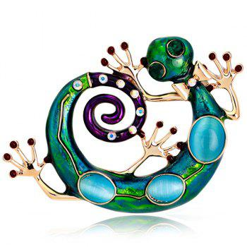 Lizard Design Rhinestone Inlaid Enamel Retro Brooch