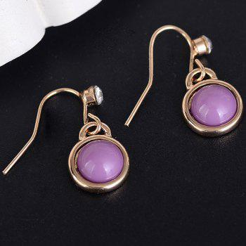 Artificial Gem Drop Hook Earrings - PURPLE PURPLE