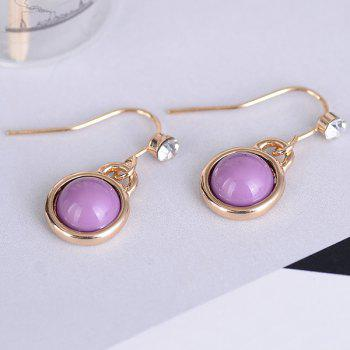 Artificial Gem Drop Hook Earrings -  PURPLE