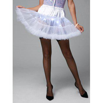 Ruffles Light Up Tutu Voile Cosplay Skirt - WHITE ONE SIZE