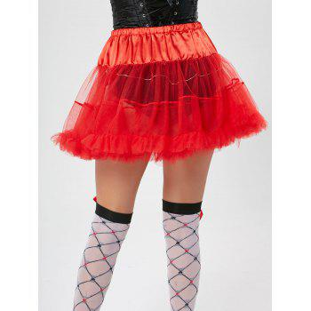 Ruffles Light Up Tutu Voile Cosplay Skirt - RED ONE SIZE