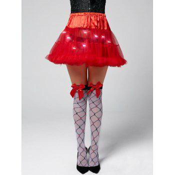 Ruffles Light Up Tutu Voile Cosplay Skirt - RED RED