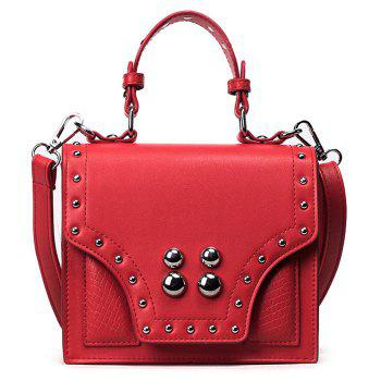 Faux Leather Rivet Flapped Handbag - RED RED