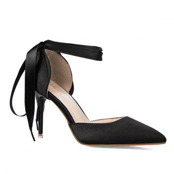 Two Piece Satin Tie Up Pumps