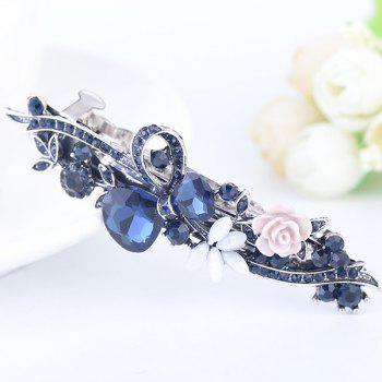 Floral Rhinestone Tiny Rose Embellished Barrette - BLUE