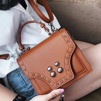 Faux Leather Rivet Flapped Handbag -  BROWN