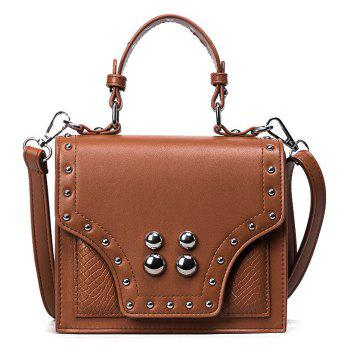 Faux Leather Rivet Flapped Handbag - BROWN BROWN