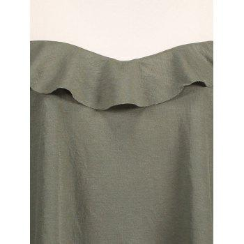 Plus Size Ruffled Cold Shoulder Dress - ARMY GREEN ARMY GREEN