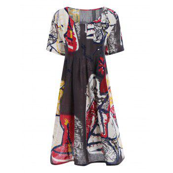 Plus Size Drawing Smock Dress with Pockets