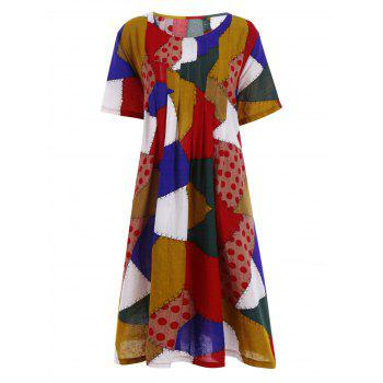 Plus Size Colorful Patched Smock Dress with Pockets