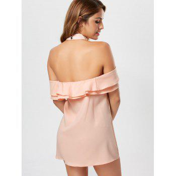 Cold Shoulder Ruffle Mini Trapeze Dress - PINK S