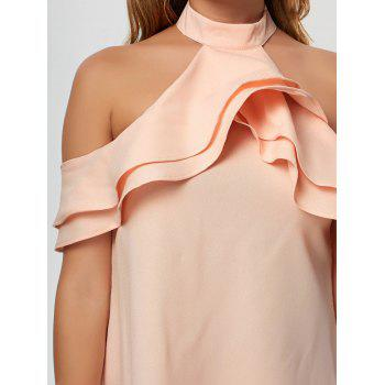 Cold Shoulder Ruffle Mini Trapeze Dress - PINK PINK