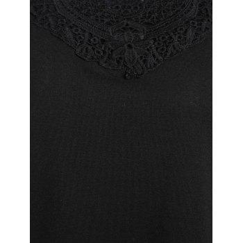 Lace Hollow Out Plus Size Tunic Tee - BLACK 4XL