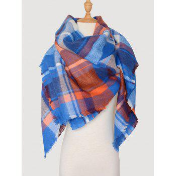 Plaid Wool Blended Color Blocking Square Scarf