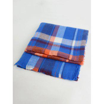 Plaid Wool Blended Color Blocking Square Scarf - ROYAL