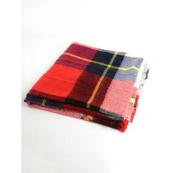 Wool Blend Square Checked Warm Scarf - RED