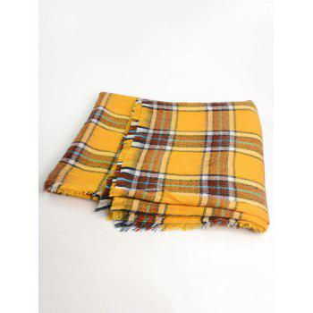 Wool Blend Checked Warm Shawl Scarf - YELLOW