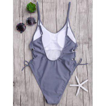 Backless Lace Up One Piece Swimsuit - GRAY XL