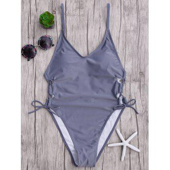 Backless Lace Up One Piece Swimsuit